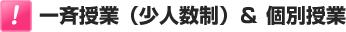 一斉授業(少人数制)& 個別授業